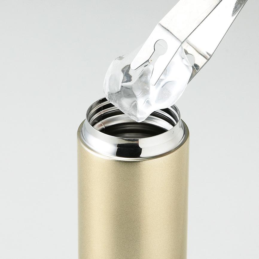 メタリック・ストッパー付き真空ステンレスボトル ゴールド