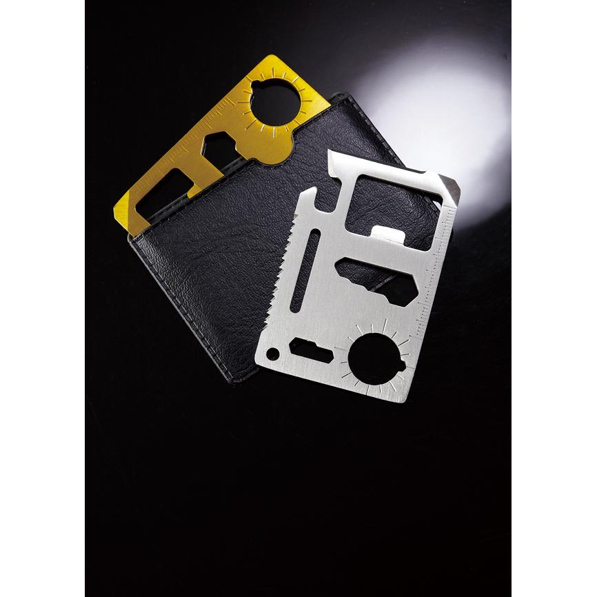 メタリック・カード型多機能ツール(ケース付き)シルバー