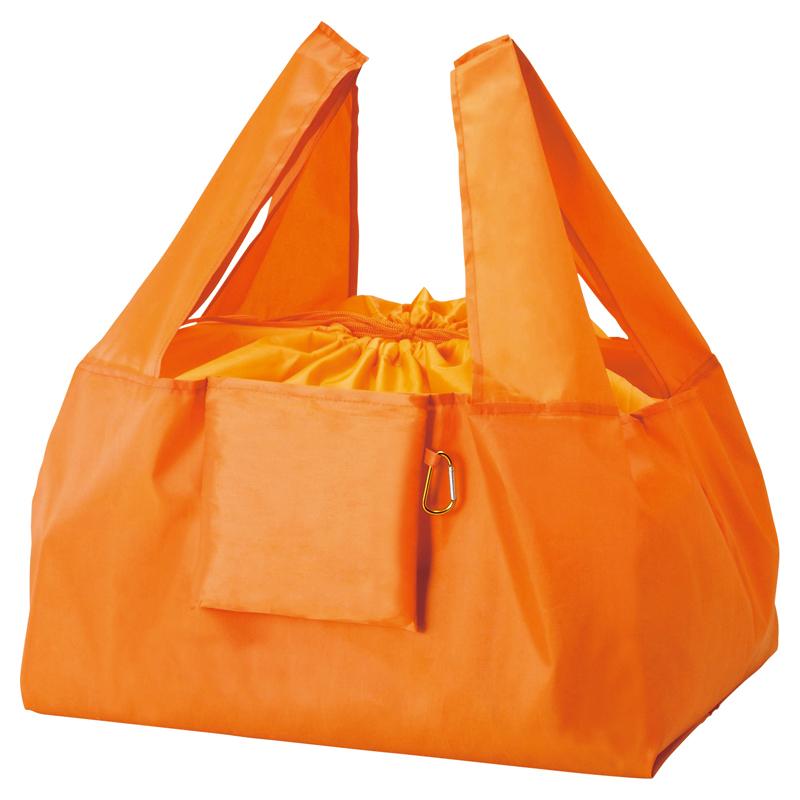 セルトナ・巾着ショッピングポータブルエコバッグ(カラビナ付き)オレンジ