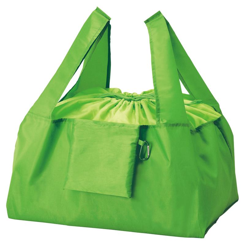 セルトナ・巾着ショッピングポータブルエコバッグ(カラビナ付き)グリーン