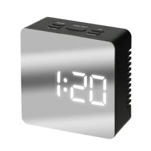鏡面 置き時計 正方形 黒色