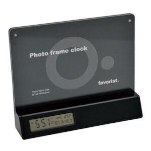 ブラック 写真立て&卓上時計 台紙差し替え式
