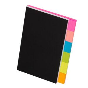 6色ふせんノート ローズピンク ピンク ブルー ライトグリーン イエロー オレンジ 表紙ブラック
