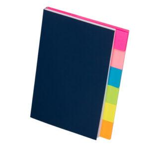 6色ふせんノート ローズピンク ピンク ブルー ライトグリーン イエロー オレンジ 表紙 紺色