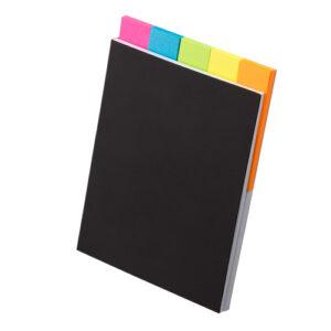 5色ふせんノート ピンク ブルー ライトグリーン イエロー オレンジ 表紙 ブラック