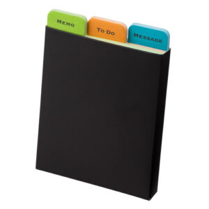 紙ケース入インデックス付きふせんメモ 3種入 ケース ブラック