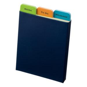 紙ケース入インデックス付きふせんメモ 3種入 ケース 紺色