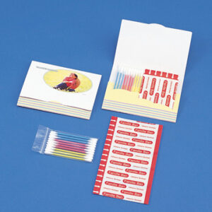 オリジナル紙製ケース付き 絆創膏 Mサイズ×5枚 めん棒×10本
