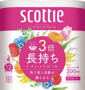 スコッティ フラワーパック 3倍長持ち 4ロールダブル(75m)くつろぐ花の香り