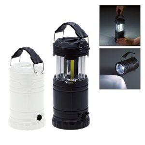 強力発光のCOBライト使用!ランタン&懐中電灯の2WAYで使用できるビッグライトです。ランタンとして使用しないときは、ライト部分をコンパクトに収納可能です。ブラック、ホワイトの2色展開でシンプルな見た目なのでベッドサイドなどすぐ手に取れる場所に置いておいても違和感がありません。ご成約時の記念品や社員へのプレゼントにもおすすめです。