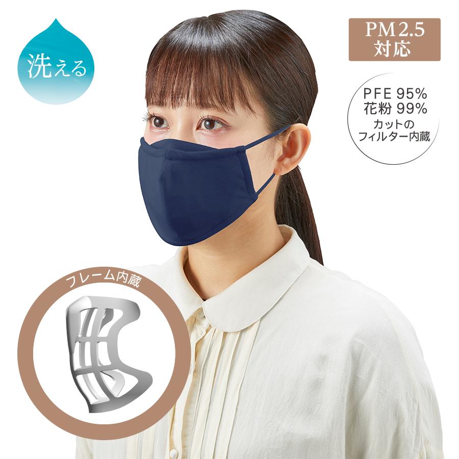 フレーム内蔵 口元ゆとり空間マスク ネイビー