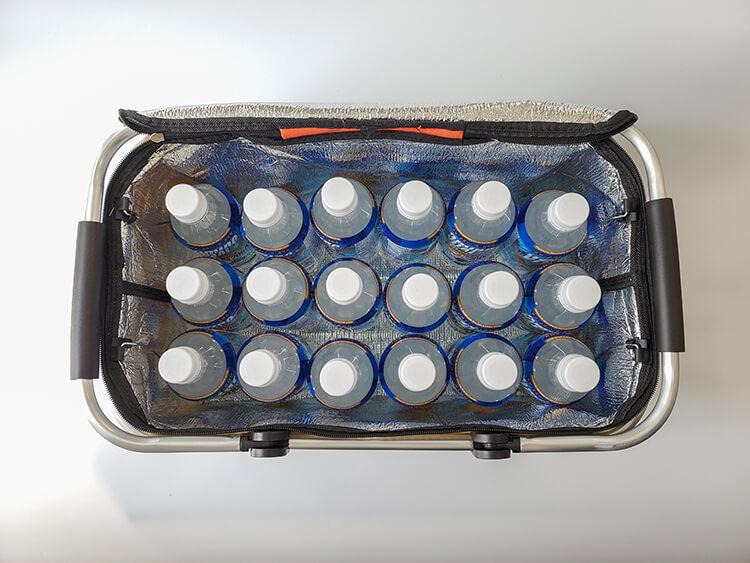 キャンプス保冷温レジャーバスケットは500mlペットボトルが18本入る